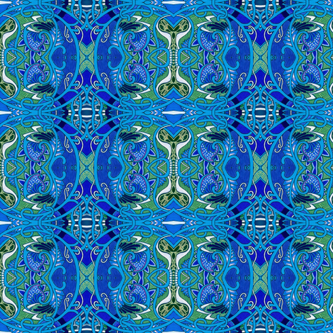 Atomic Mushroom Paisley in Blue fabric by edsel2084 on Spoonflower - custom fabric