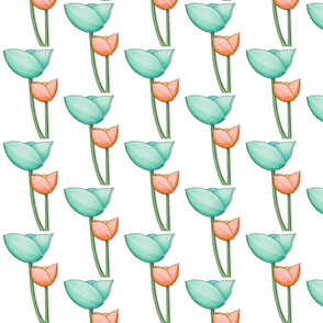 Simple Flowers teal orange