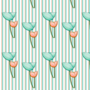 Simple Flowers teal orange on Stripes