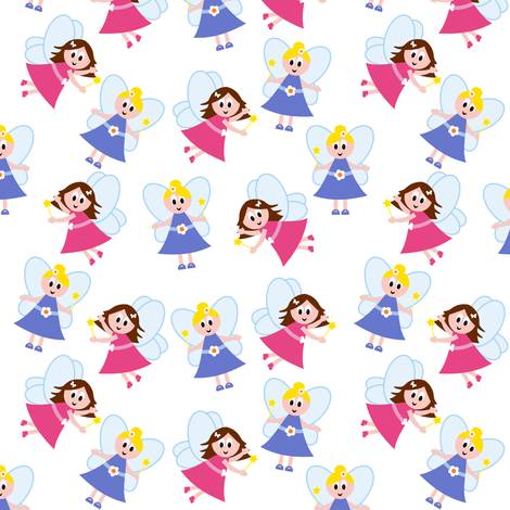 Fairy Jessie and Fairy Emma fabric by shelleymade on Spoonflower - custom fabric