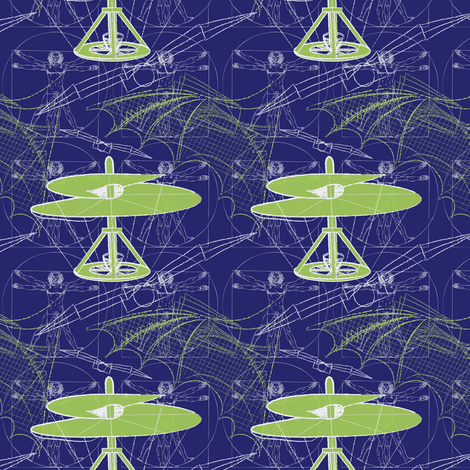 daVinci Fliers (blue-sm) fabric by jjtrends on Spoonflower - custom fabric