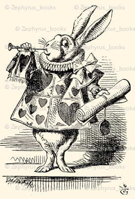 The White Rabbit dressed as a herald blowing a trumpet, illustration by John Tenniel