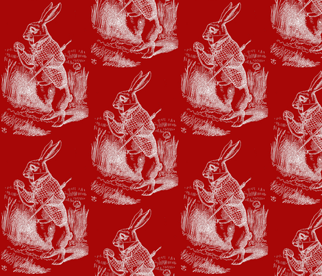 The White Rabbit checks his watch fabric by zephyrus_books on Spoonflower - custom fabric