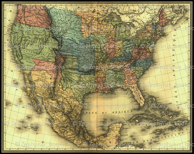 1848 Map of United States and Mexico map by Duvotenay