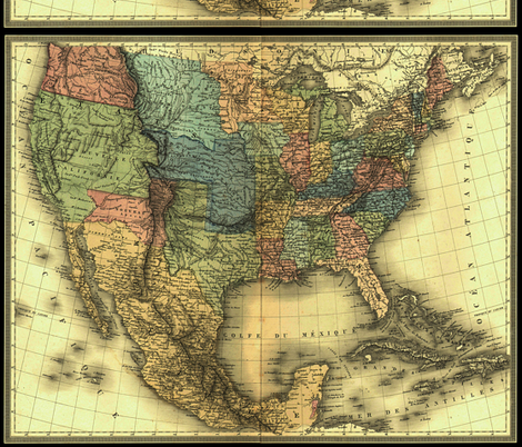 1848 Map of United States and Mexico map by Duvotenay fabric by zephyrus_books on Spoonflower - custom fabric