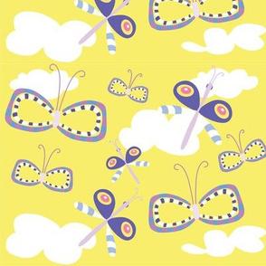 Dancing butterflies on clouds