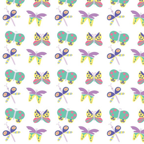 Cute butterflies on white background