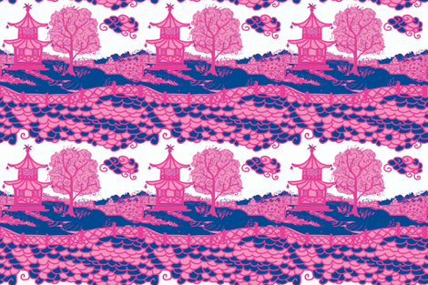Cloud_Pagoda-Navy/Magenta fabric by danikaherrick on Spoonflower - custom fabric