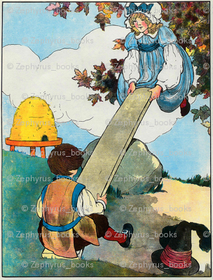 Mother Goose Nursery Rhyme See-saw, Margery Daw, Sold her bed and lay upon straw