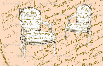 Two French Chairs, creamsicle