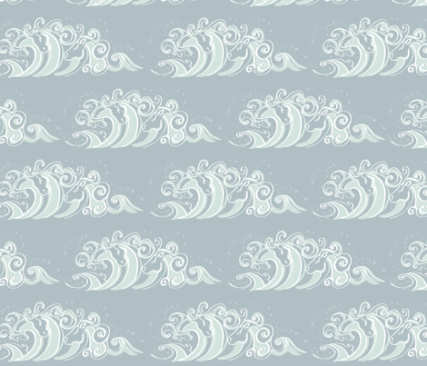 Large Waves of White horses  fabric by cherryandcinnamon on Spoonflower - custom fabric