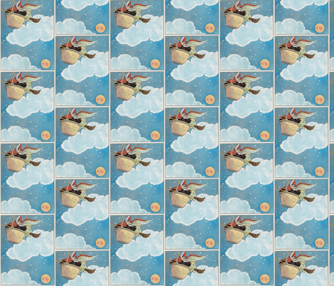 Mother Goose Nursery Rhyme There was an old woman tossed in a basket, Seventeen times as high as the moon fabric by zephyrus_books on Spoonflower - custom fabric