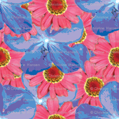 Blues and Pinks Water Color Floral