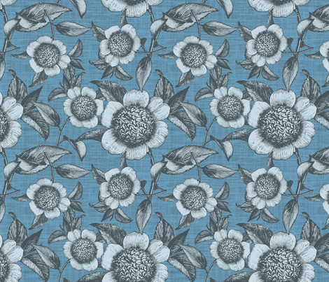 Camelia Organica Blue fabric by brainsarepretty on Spoonflower - custom fabric