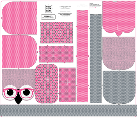 Geeky Owl Bag - PINK! - KONA version fabric by happysewlucky on Spoonflower - custom fabric