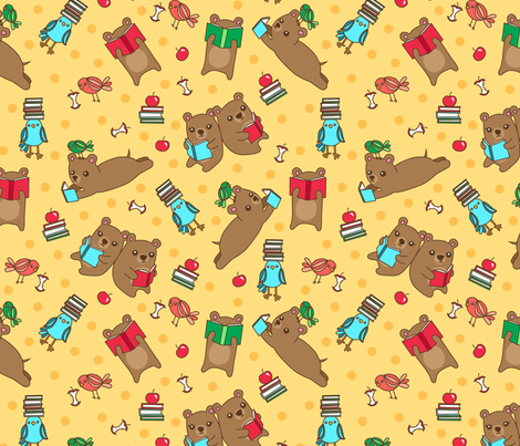 Book Bears fabric by my_zoetrope on Spoonflower - custom fabric