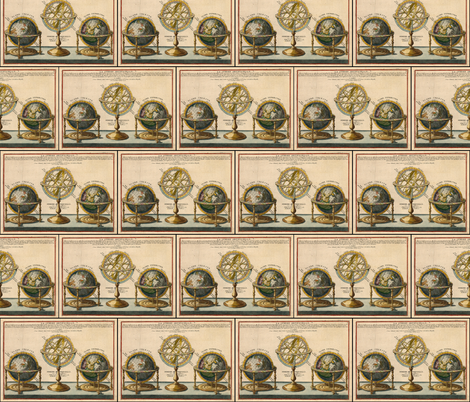 Astronomy 1717 Globes Globes and Armillary Spheres fabric by zephyrus_books on Spoonflower - custom fabric