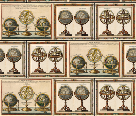Astronomy Globes and Armillary Spheres fabric by zephyrus_books on Spoonflower - custom fabric
