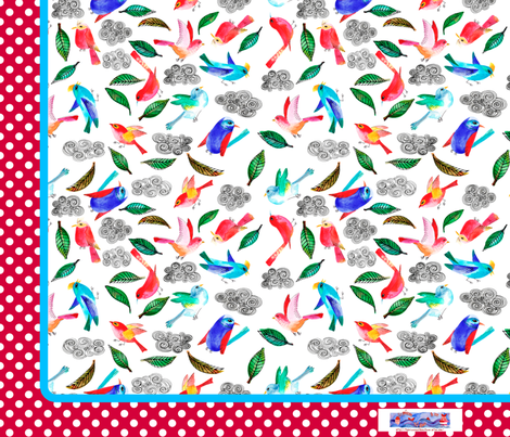 coupon foulard_aux_oiseaux fabric by nadja_petremand on Spoonflower - custom fabric