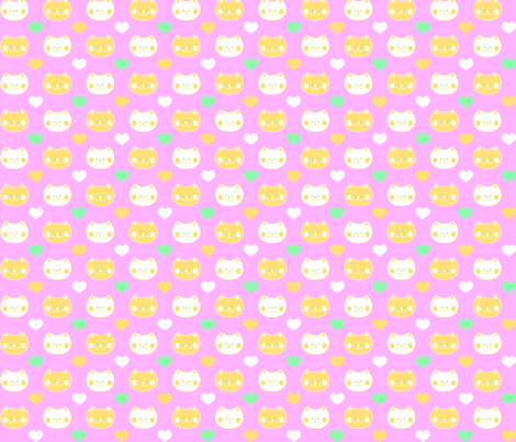 Love Cats on Pink fabric by pininkie on Spoonflower - custom fabric