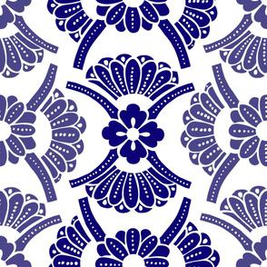 Petals & Fans Blue 2-tone