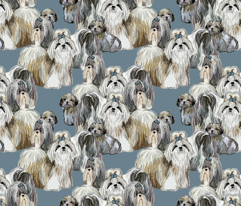 Shih Tzus In Blue fabric by dogdaze_ on Spoonflower - custom fabric