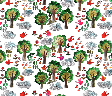 amour d'oiseau dans la forêt fabric by nadja_petremand on Spoonflower - custom fabric