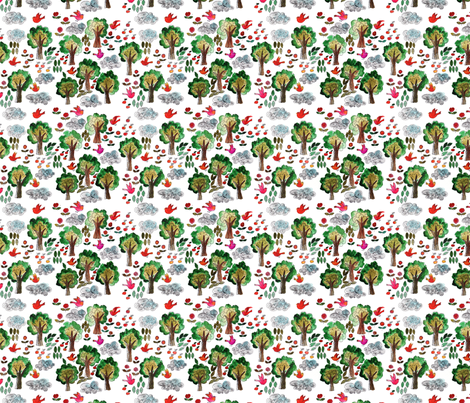 amour d'oiseau dans la forêt M fabric by nadja_petremand on Spoonflower - custom fabric