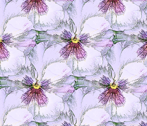 Pale lavender pastel pansy fabric by vib on Spoonflower - custom fabric