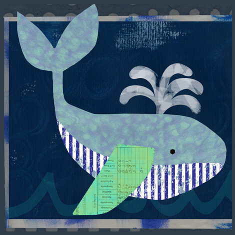 Whale Fabric Panel fabric by redfish on Spoonflower - custom fabric