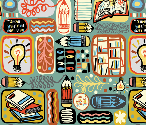 Reading and Writing fabric by gsonge on Spoonflower - custom fabric