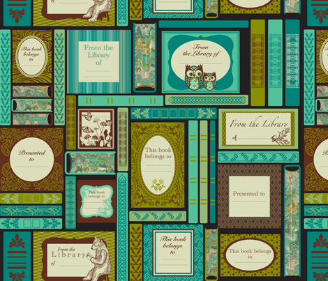 Woodlands book labels fabric by cjldesigns on Spoonflower - custom fabric