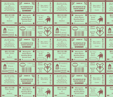 Library Cards of Literary Cities fabric by mongiesama on Spoonflower - custom fabric