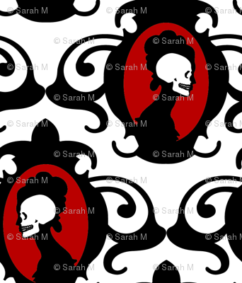 Flourish Black with Red and White detail