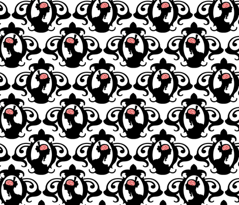Girls with Brains - Black on White Ground fabric by thirdhalfstudios on Spoonflower - custom fabric