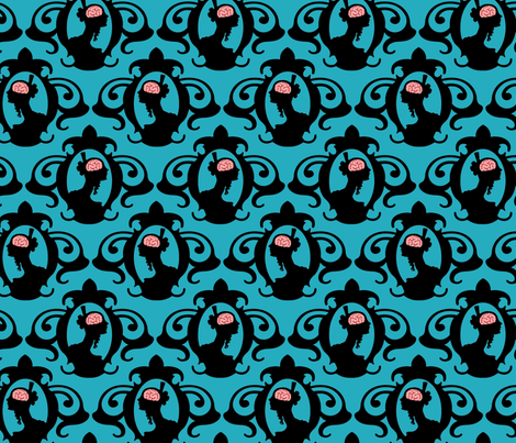 Girls with Brains - Black on Turquoise Ground fabric by thirdhalfstudios on Spoonflower - custom fabric