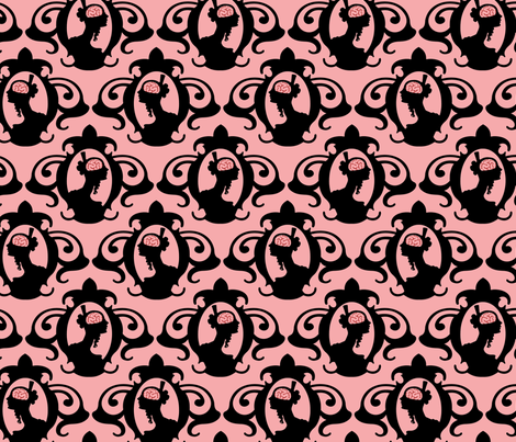 Girls with Brains - Black on Pink Ground fabric by thirdhalfstudios on Spoonflower - custom fabric
