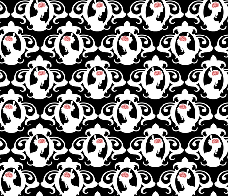 Girls with Brains - White on Black Ground fabric by thirdhalfstudios on Spoonflower - custom fabric