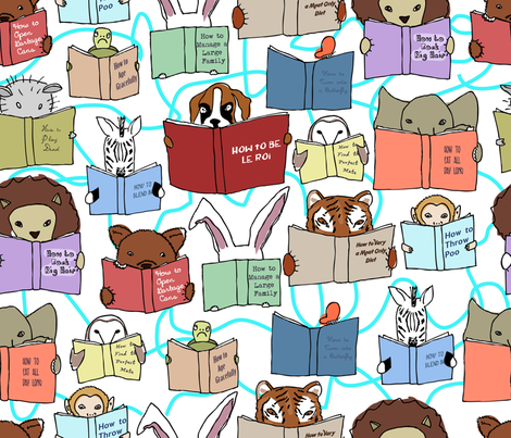 animals reading fabric by babysisterrae on Spoonflower - custom fabric