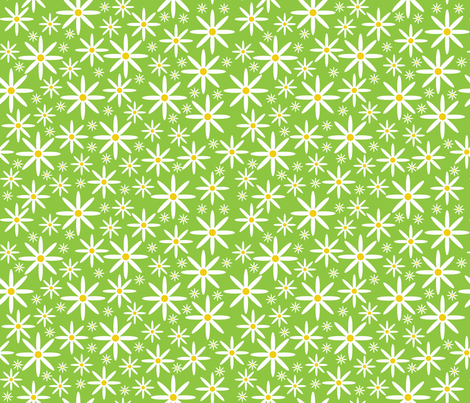 Field of Daisies-Green fabric by jjtrends on Spoonflower - custom fabric