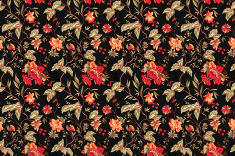 Black Indienne - 18th century style fabric by mellymellow on Spoonflower - custom fabric