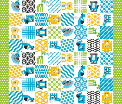 Robot Zoo Cheater Quilt