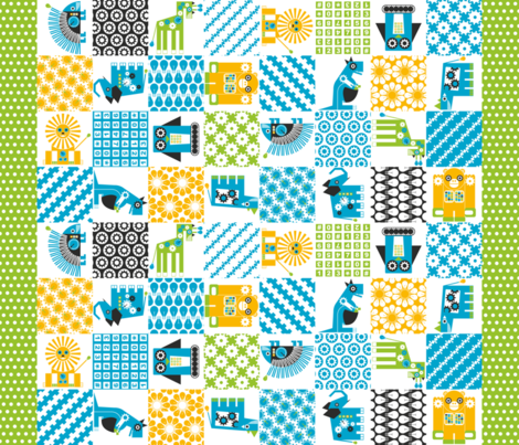 Robot Zoo Cheater Quilt fabric by kuosikioski on Spoonflower - custom fabric