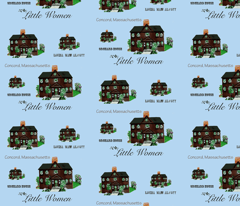 Home of Little Women, by Louisa May Alcott on blue background