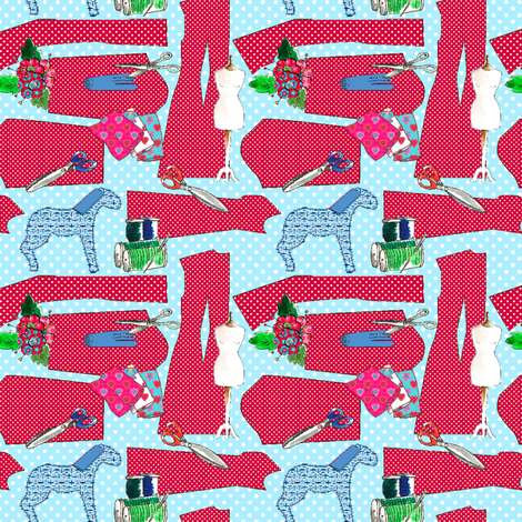 """couture oh couture rouge M"" fabric by nadja_petremand on Spoonflower - custom fabric"