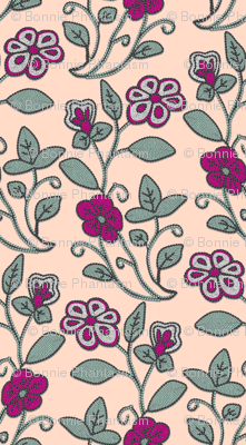 Imitation Crewel Embroidery fabric - Full