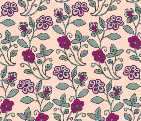 Imitation Crewel Embroidery fabric - Full fabric by bonnie_phantasm on Spoonflower - custom fabric