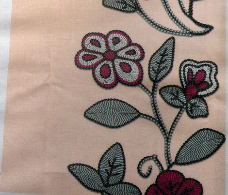 Imitation Crewel Embroidery fabric - Stripes