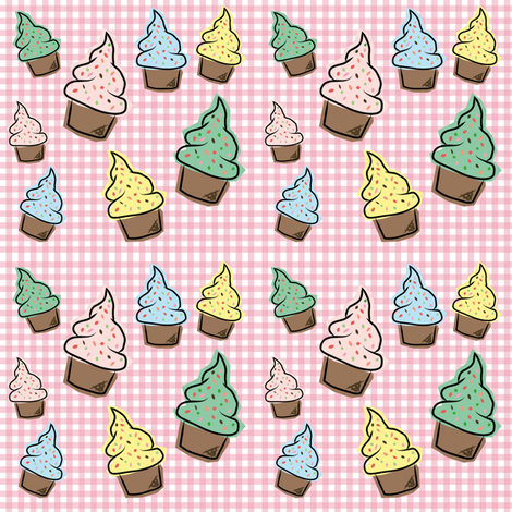 Stylised cupcakes fabric by icypop on Spoonflower - custom fabric