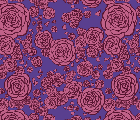Pink Deco Roses fabric by rosalarian on Spoonflower - custom fabric